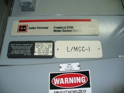 Cutler hammer 2100 series 2000 amp motor control center for Cutler hammer motor control center